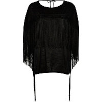 Black fringed front top
