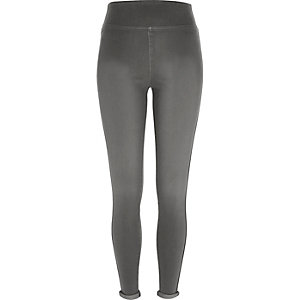 Grey high-waisted denim leggings