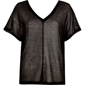 Black knitted cut and sew t-shirt