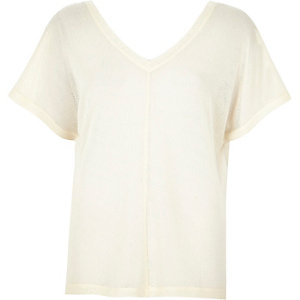 Cream fine knit V-neck t-shirt