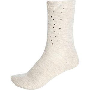 Beige studded ankle socks