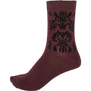 Brown baroque ankle socks