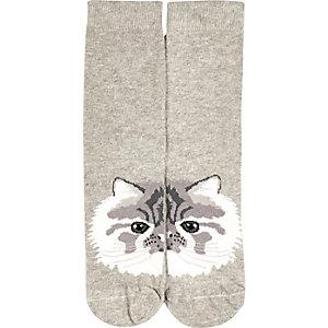 Grey cat face ankle socks