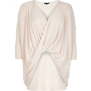 Light pink drape front top