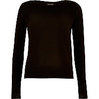 Black split back knitted top