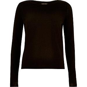 Black split back knitted top