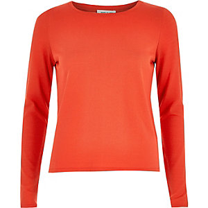 Bright red split back knitted top