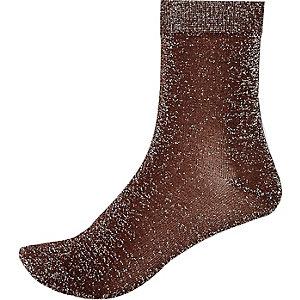 Bronze brown metallic ankle socks