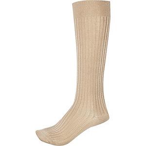 Light pink slinky calf socks