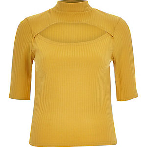 Dark yellow ribbed cut out front top