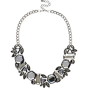 Grey gem stone statement necklace