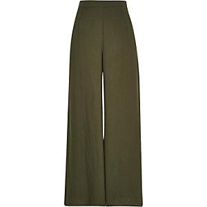 Khaki green soft palazzo pants