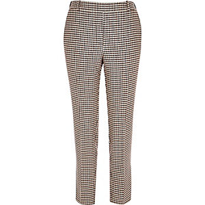 Red dogtooth print slim trousers