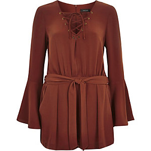 Maroon smart cross strap bell sleeve playsuit