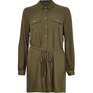 Khaki smart waist tie playsuit