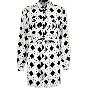 White diamond print shirt playsuit