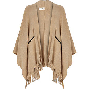 Beige fine knitted cape