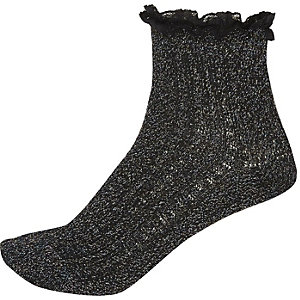 Black sparkly ankle socks