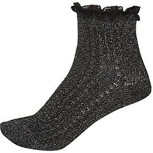 Black sparkly ankle socks