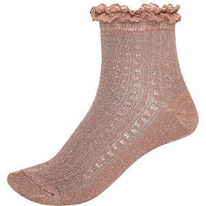 Grey metallic frilly ankle socks
