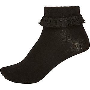 Black tassel frilly ankle socks