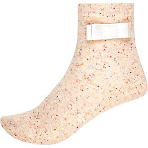 Beige speckle bow ankle socks