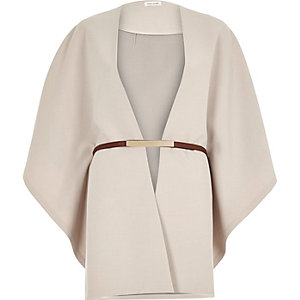 Beige belted cape