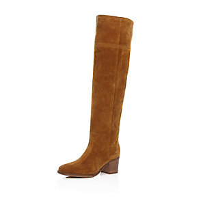 Tan brown suede knee high boots