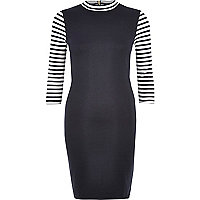Navy 3/4 sleeve stripe bodycon dress