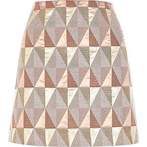 Pink print mini skirt
