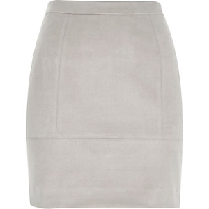 Grey faux suede A-line skirt