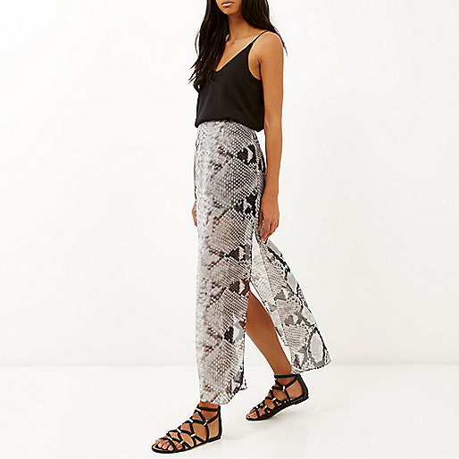 Grey snake print side split maxi skirt - maxi skirts - skirts - women
