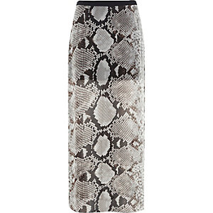 Grey snake print side split maxi skirt