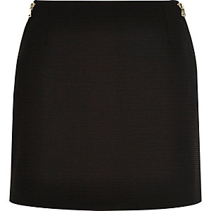 Black zip side pelmet mini skirt