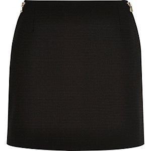 Black zip side pelmet mini skirt
