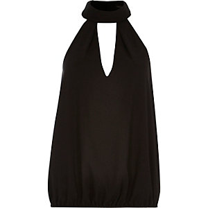 Black halter neck top