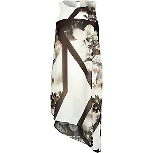 White floral print asymmetric top