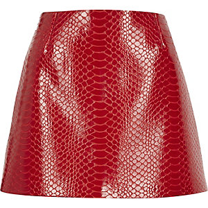 Red anaconda print pelmet skirt