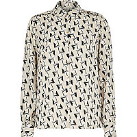 Beige squiggle print long sleeve shirt