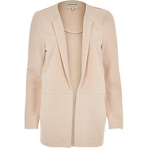 Light pink textured blazer jacket