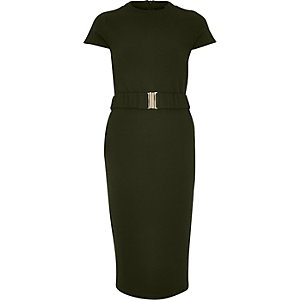 Khaki belted bodycon dress