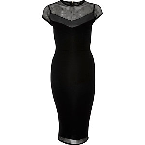 Black mesh panel bodycon dress