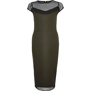Khaki mesh panel bodycon dress