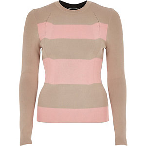 Camel and pink stripe knitted fitted top