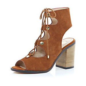 Tan suede ghillie lace up heeled sandals