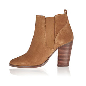 Brown suede heeled ankle boots