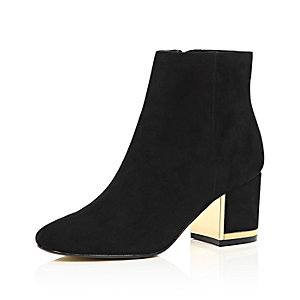 Black faux suede block heel ankle boots