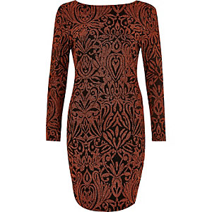 Rust sparkle mini bodycon dress