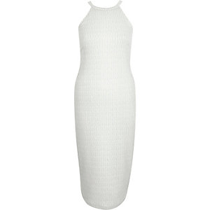 White sparkly jacquard bodycon midi dress