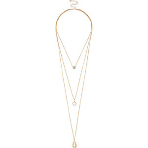 Gold tone layered skinny necklace